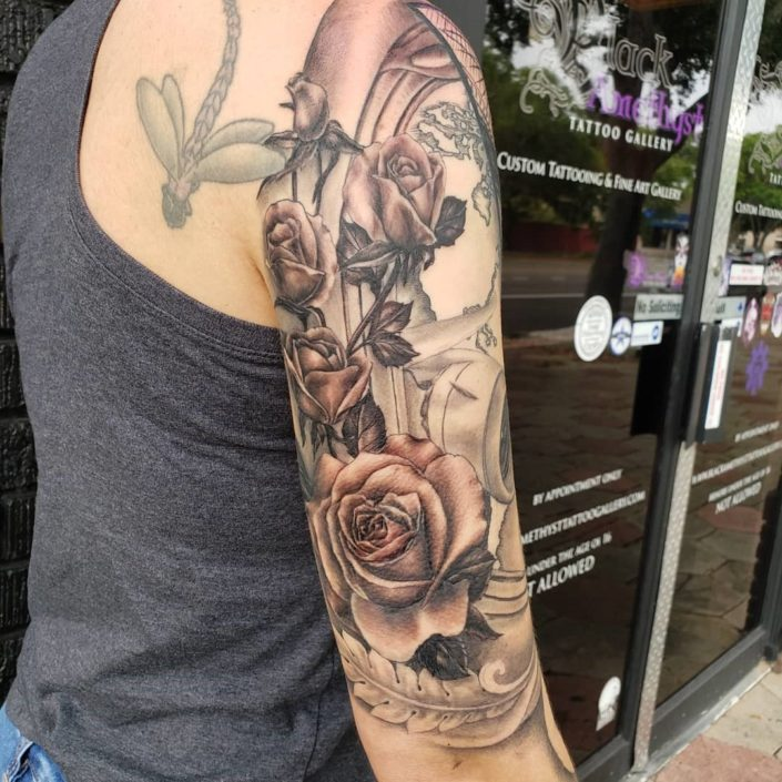 Roses and Filigree St Pete Tattoo