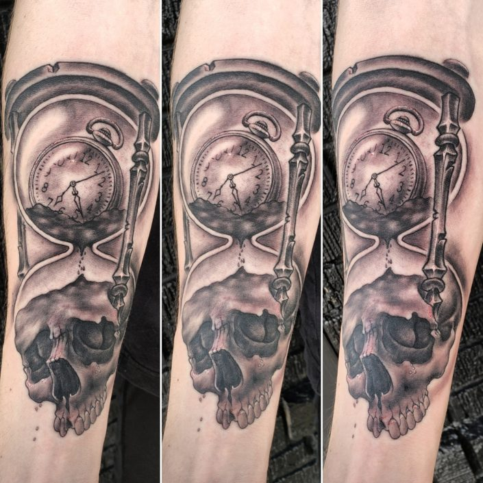 Skull and Watch Hourglass St Pete Tattoo